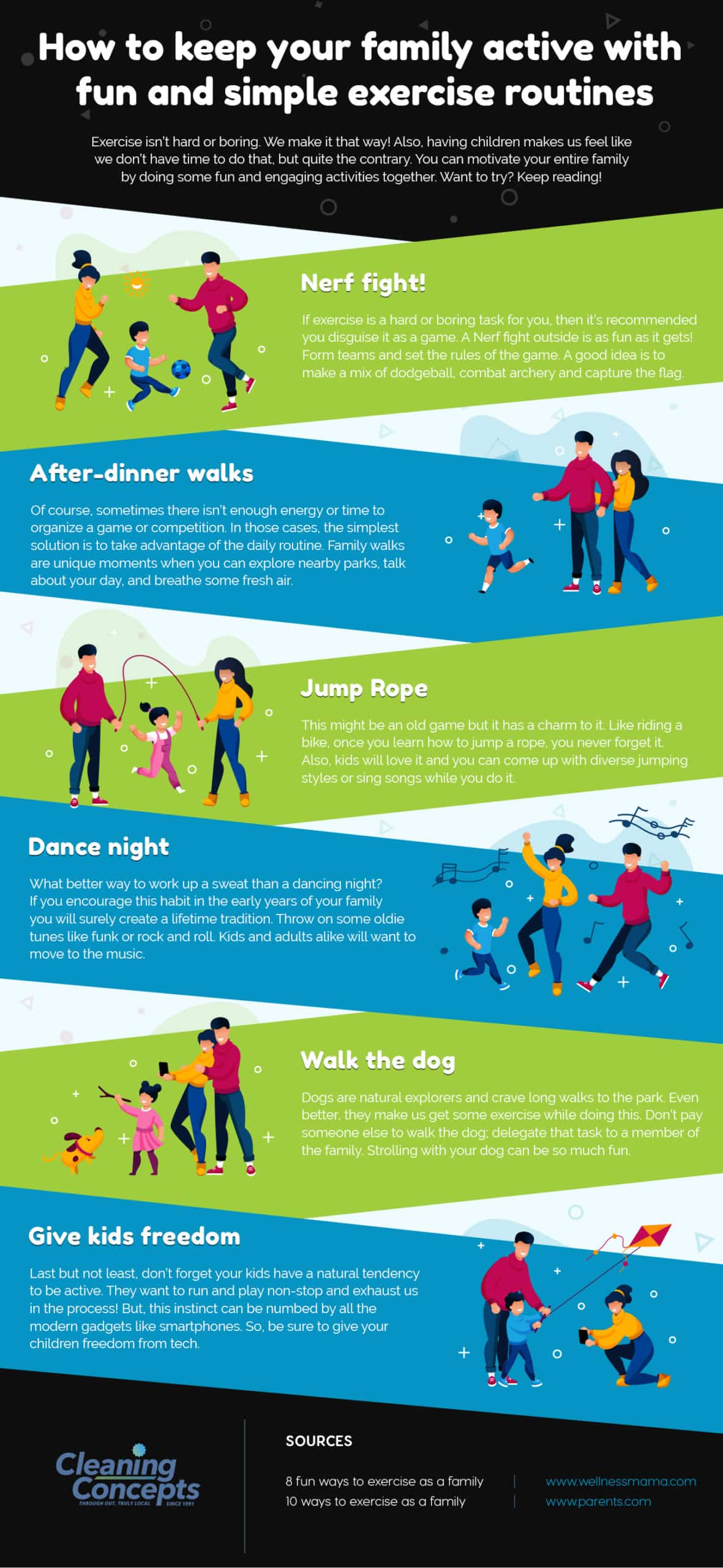 Cleaning Concepts - How to keep your family active with fun and simple exercise routines